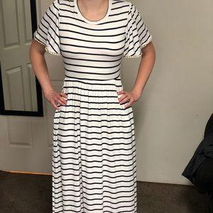 Olive green striped maxi dress